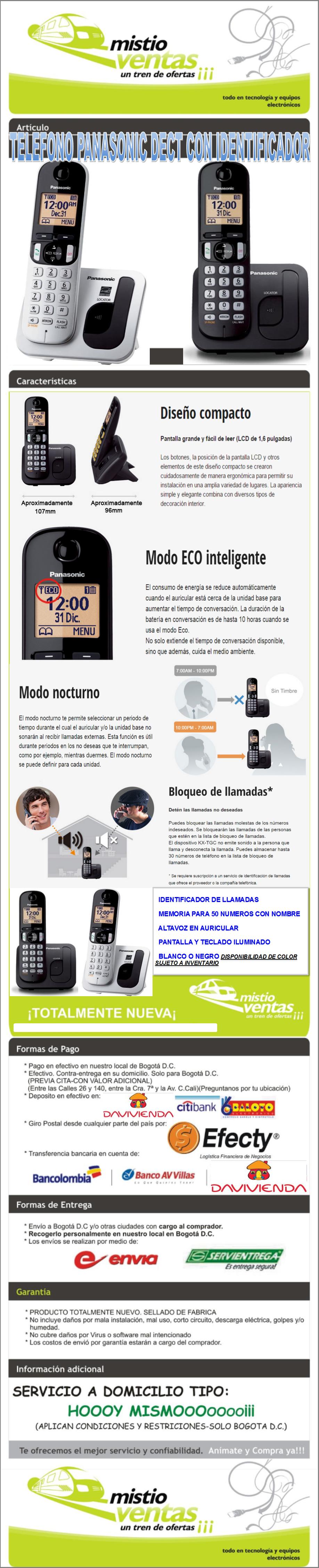 TELÉFONO PANASONIC DECT CON IDENTIFICADOR MISTIOVENTAS